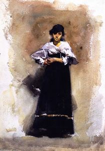Young Woman in a Black Skirt, Painting by John Singer Sargent  (buy Fine Art Framed Print John Singer Sargent)