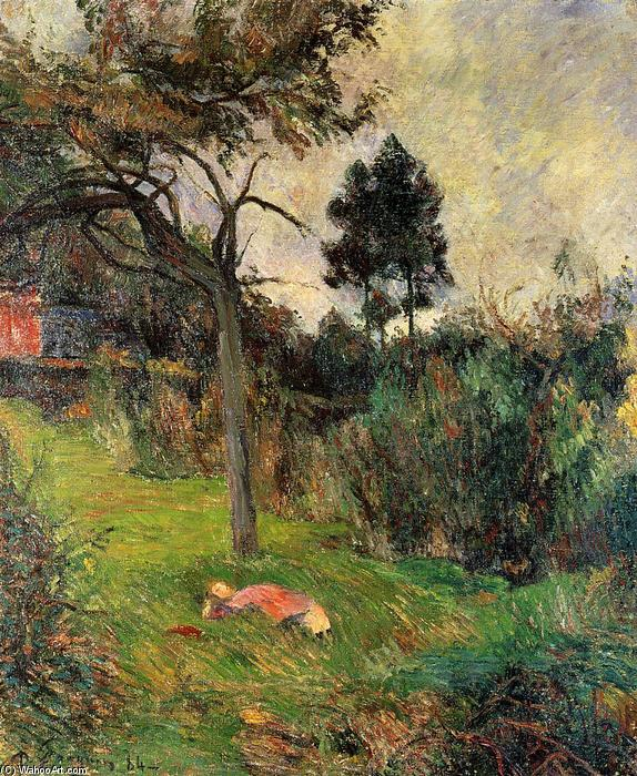 Young Woman Lying in the Grass, Oil On Canvas by Paul Gauguin (1848-1903, France)
