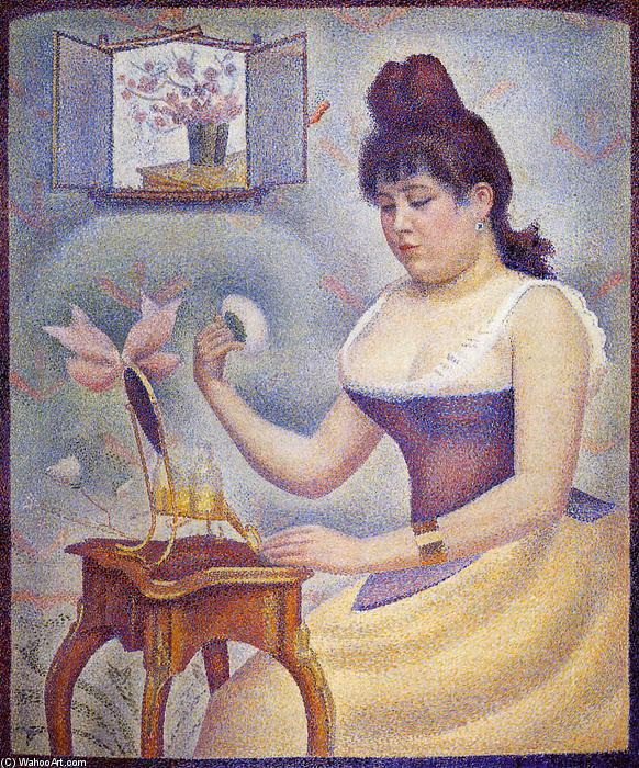 Young Woman Powdering Herself, Oil On Canvas by Georges Pierre Seurat (1859-1891, France)