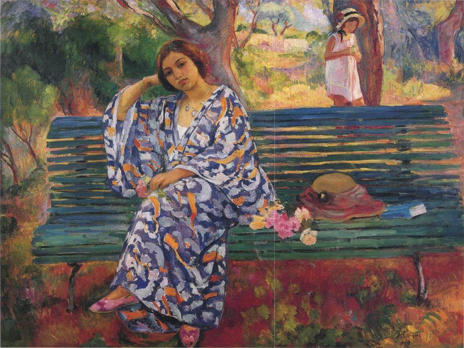 Young woman seated on a bench, Oil On Canvas by Henri Lebasque (1865-1937, France)