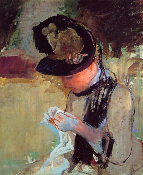 Young Woman Sewing in the Garden, Oil On Canvas by Mary Stevenson Cassatt (1843-1926, United States)