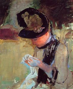 Mary Stevenson Cassatt - Young Woman Sewing in the Garden