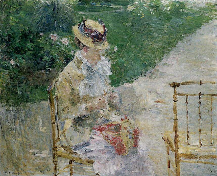 Young Woman Sewing in the Garden, Oil On Canvas by Berthe Morisot (1841-1895, France)