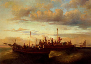 Adolphe Joseph Thomas Monticelli - Italian Fishing Vessels at Dusk
