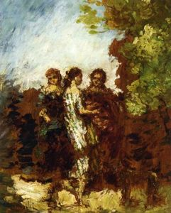 Adolphe Joseph Thomas Monticelli - Three Friends