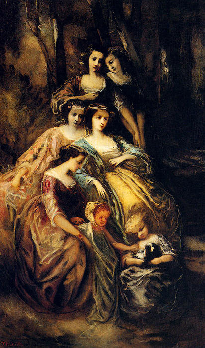 Empress Eugenie And Her Attendants, Oil On Canvas by Adolphe Joseph Thomas Monticelli (1824-1886, France)