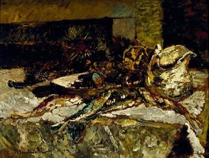 Adolphe Joseph Thomas Monticelli - Still Life with Sardines and Sea-Urchins
