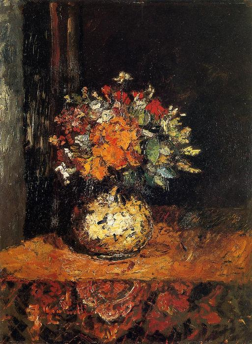 Bouquet of Flowers, Oil On Panel by Adolphe Joseph Thomas Monticelli (1824-1886, France)