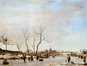 Adriaen Van De Velde - Frozen Canal with Skaters and Hockey Players