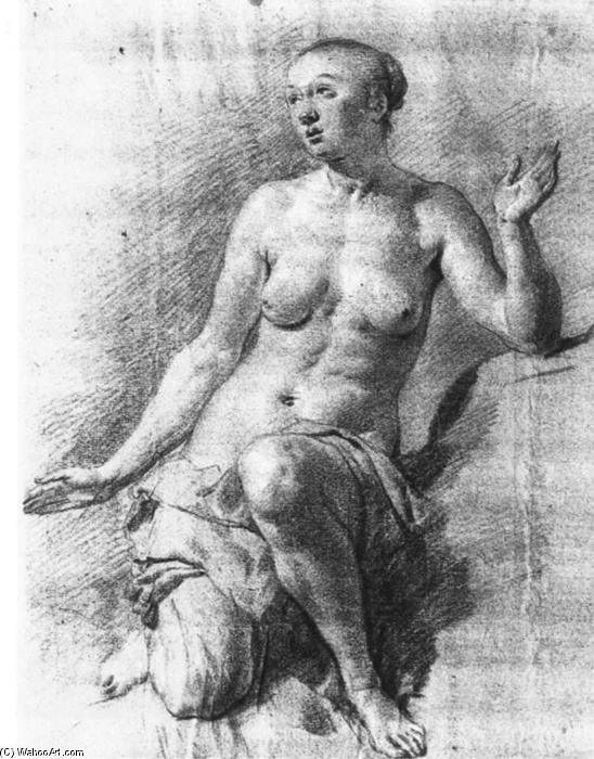Study of a Female Nude by Adriaen Van De Velde (1636-1672, Netherlands) | Museum Quality Reproductions | WahooArt.com