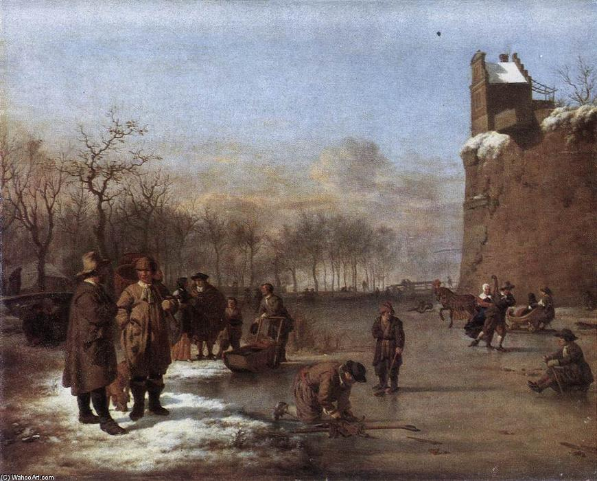 Amusement on the Ice, 1669 by Adriaen Van De Velde (1636-1672, Netherlands) | Museum Quality Reproductions | WahooArt.com