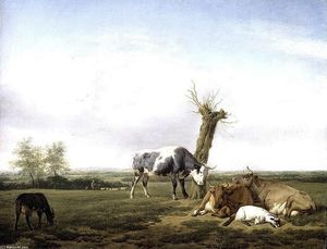Adriaen Van De Velde - Cattle and Goats in a Meadow