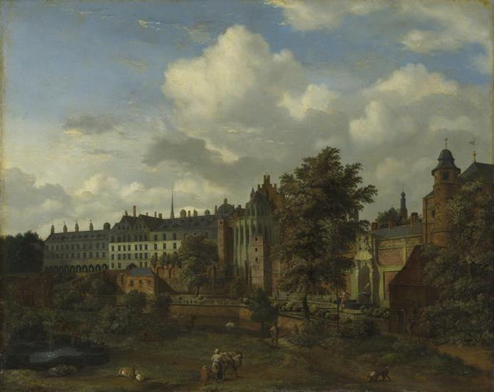 View of the ancient castle of the Dukes of Burgundy in Brussels, 1672 by Adriaen Van De Velde (1636-1672, Netherlands) | Art Reproduction | WahooArt.com