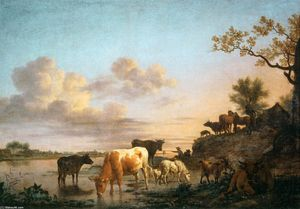 Adriaen Van De Velde - Animals by the River