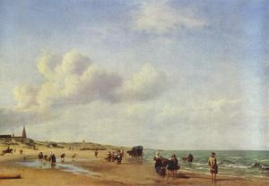 Adriaen Van De Velde - The Beach at Scheveningen
