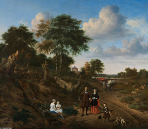 Adriaen Van De Velde - Portrait of a couple with two children and a nursemaid in a landscape