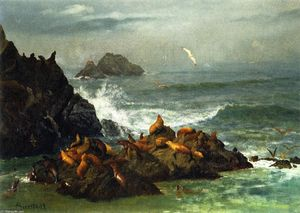 Albert Bierstadt - Seal Rocks, Pacific Ocean, California