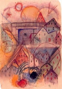 Albert Bloch - Study of shape and color - 9 with railway bridge