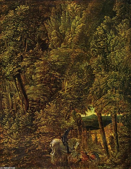 Countryside of wood with Saint George fighting the dragon, Oil by Albrecht Altdorfer (1480-1538, Germany)