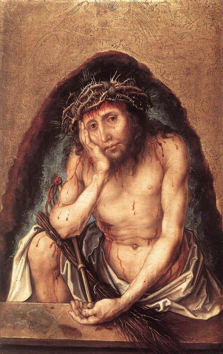 Christ as the Man of Sorrows, Oil On Panel by Albrecht Durer (1471-1528, Germany)