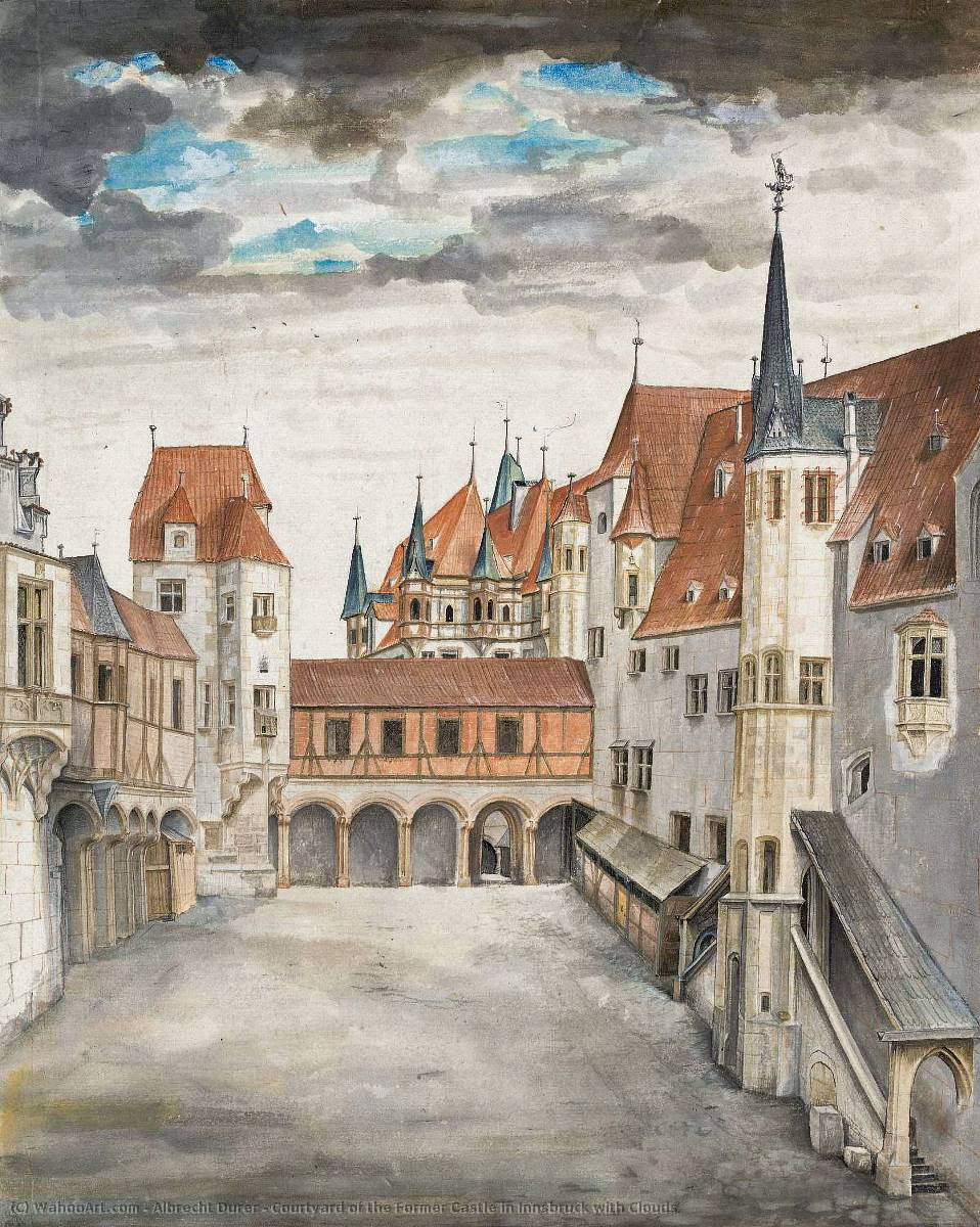 Courtyard of the Former Castle in Innsbruck with Clouds, Watercolour by Albrecht Durer (1471-1528, Italy)