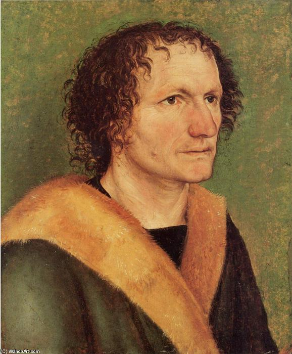 Male portrait before green base, Canvas by Albrecht Durer (1471-1528, Italy)
