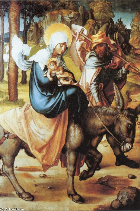 The flight to Egypt Softwood, Oil On Panel by Albrecht Durer (1471-1528, Italy)