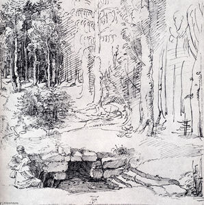 Albrecht Durer - Forest Glade With A Walled Fountain By Which Two Men Are Sitting