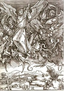 Albrecht Durer - St. Michael and the Dragon, from a Latin edition
