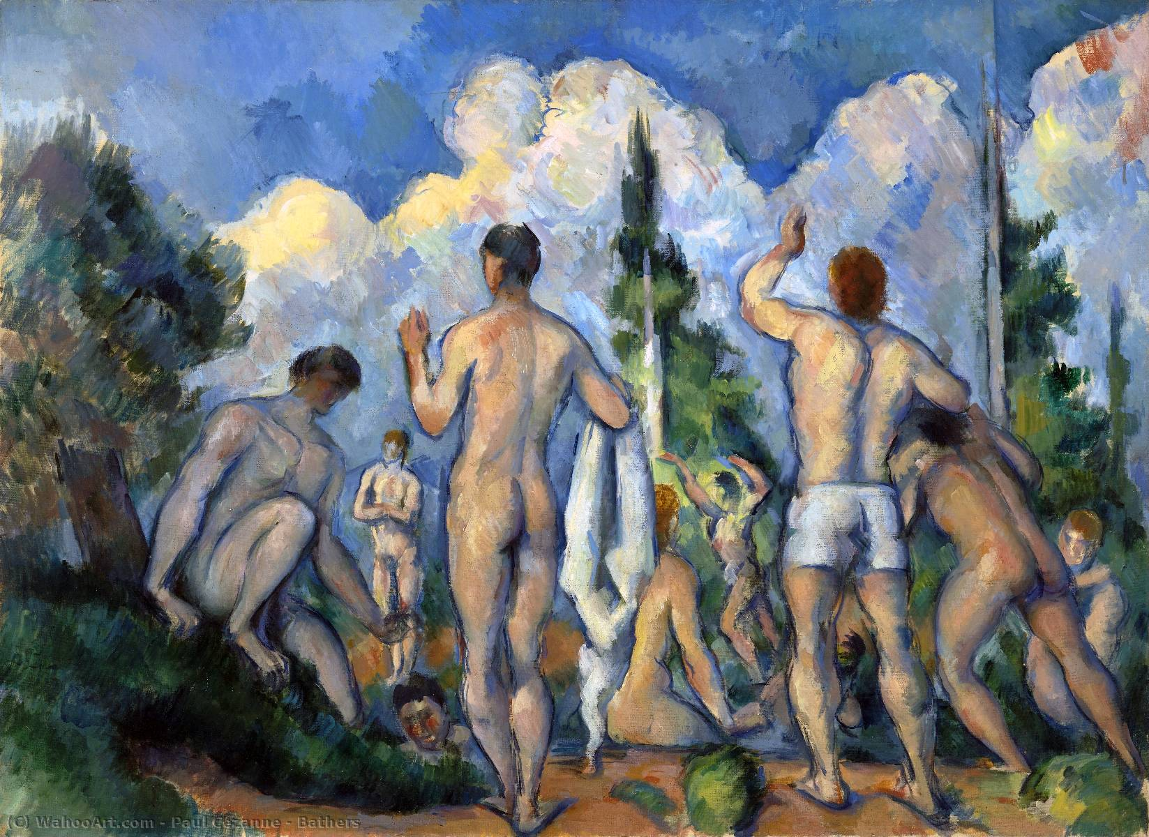 Order Reproductions | Bathers, 1894 by Paul Cezanne (1839-1906, France) | WahooArt.com