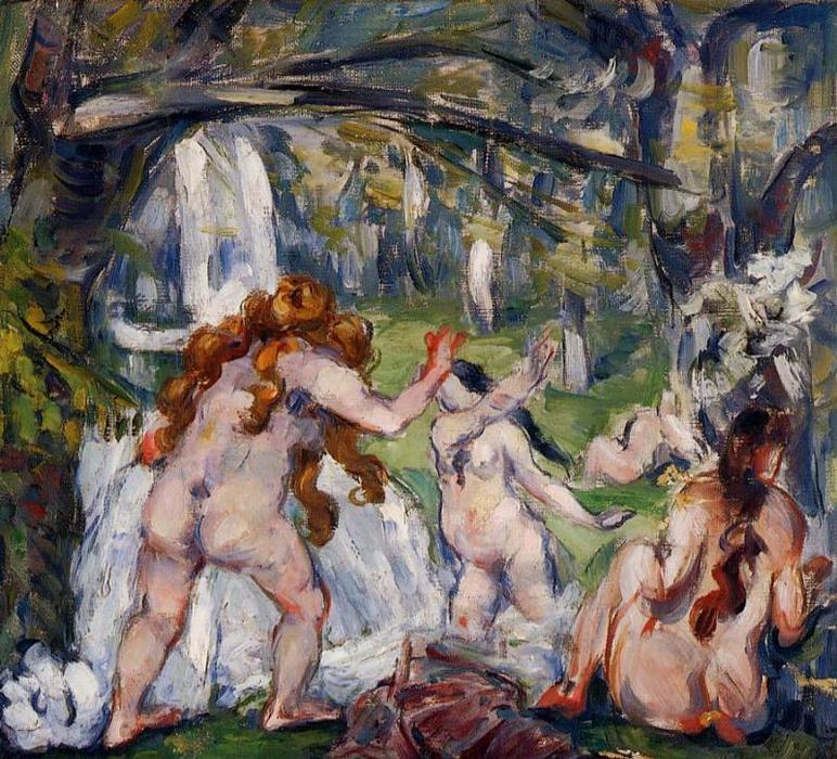 Three Bathers, 1882 by Paul Cezanne (1839-1906, France) | Famous Paintings Reproductions | WahooArt.com