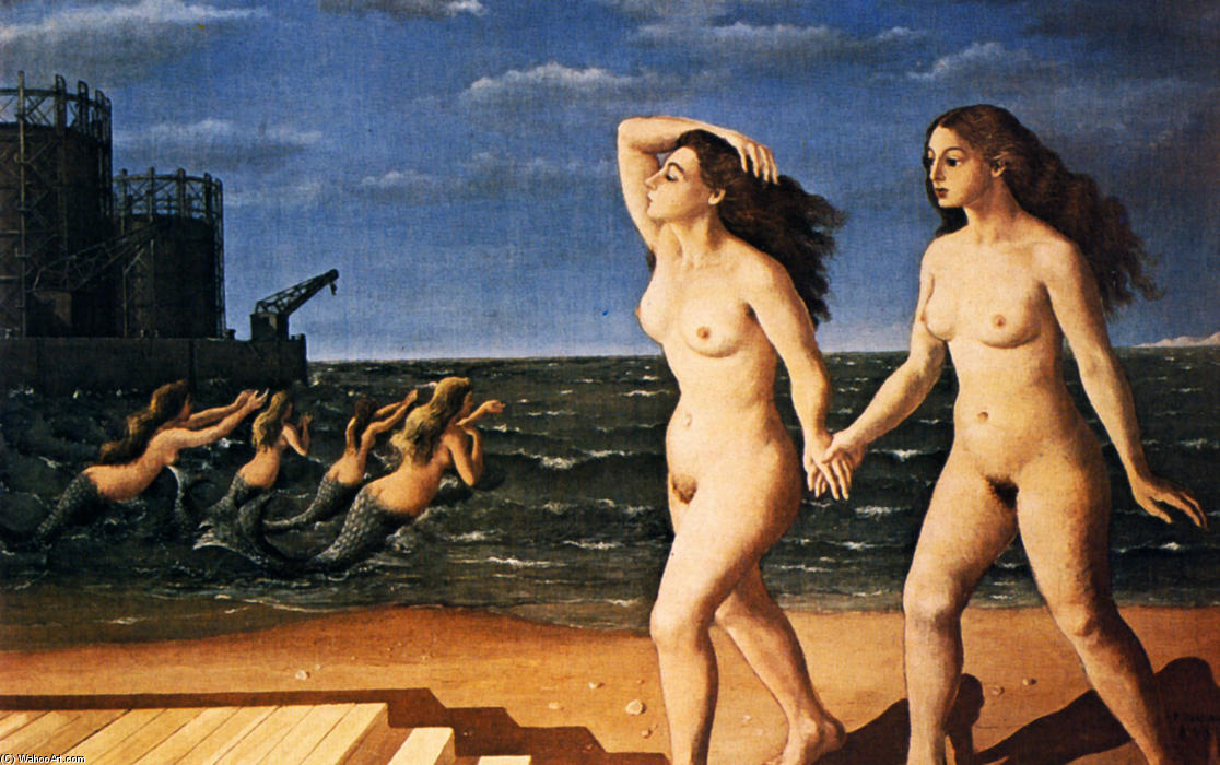 Woman in front of the sea, Oil On Canvas by Paul Delvaux (1897-1994, Belgium)