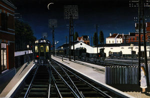 Paul Delvaux - Train in Evening