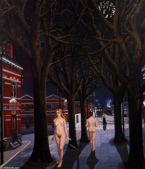 The Beautiful Night , Oil On Canvas by Paul Delvaux (1897-1994, Belgium)