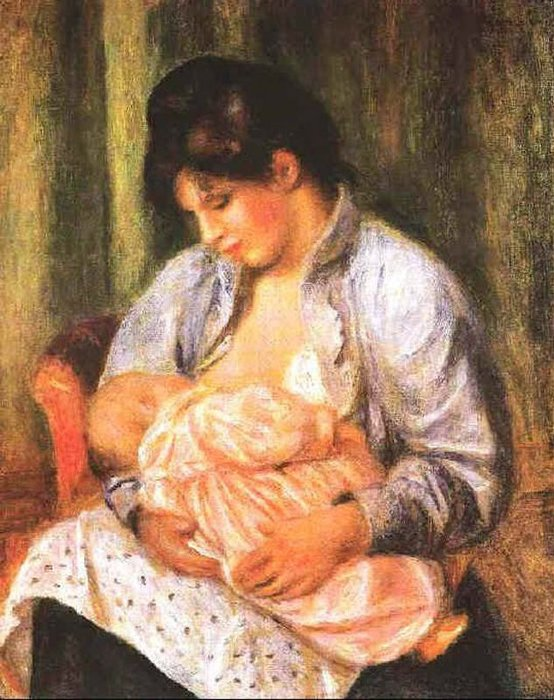 Mother and Child, Oil On Canvas by Pierre-Auguste Renoir (1841-1919, France)