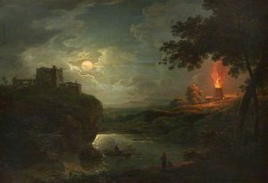 Abraham Pether - A Castle And Burning Kiln Over A River By Moonlight