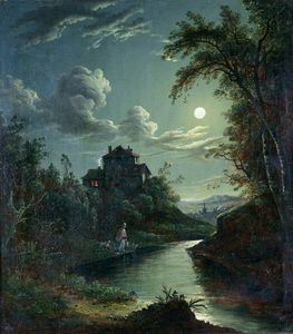 Abraham Pether - A Landscape And River Scene