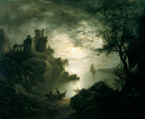 Abraham Pether - A Moonlit Scene