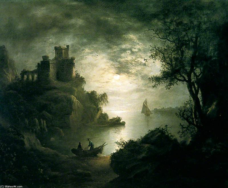 A Moonlit Scene by Abraham Pether (1756-1812, United Kingdom) | Painting Copy | WahooArt.com