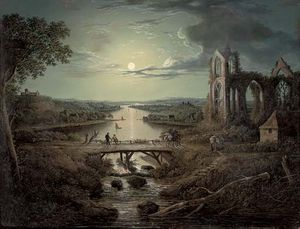 Abraham Pether - A Moonlit View Of The River Tweed With Melrose Abbey In The Foreground And Figures On A Bridge