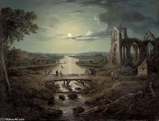 A Moonlit View Of The River Tweed With Melrose Abbey In The Foreground And Figures On A Bridge by Abraham Pether (1756-1812, United Kingdom) | Famous Paintings Reproductions | WahooArt.com
