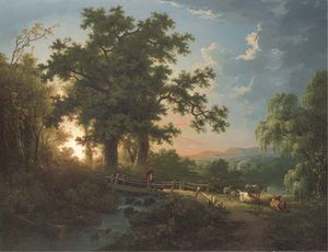 Abraham Pether - A Wooded River Landscape, With A Faggot Gatherer On A Bridge, Cattle And Sheep