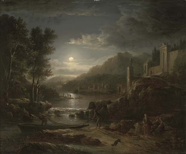 Fishermen Along A River By Moonlight by Abraham Pether (1756-1812, United Kingdom) | Museum Quality Reproductions | WahooArt.com