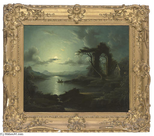 Fishing By The Full Moon by Abraham Pether (1756-1812, United Kingdom) | Oil Painting | WahooArt.com