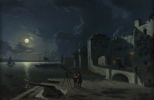 Abraham Pether - God-s House Tower By Moonlight