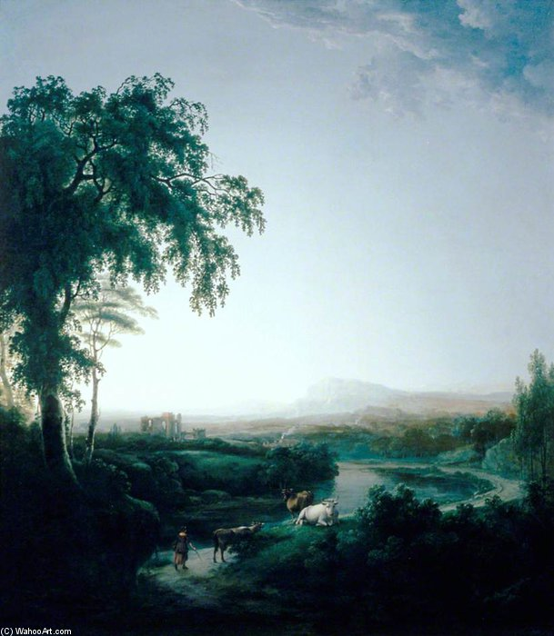 Landscape With River And Cows At Dusk by Abraham Pether (1756-1812, United Kingdom) | Art Reproduction | WahooArt.com