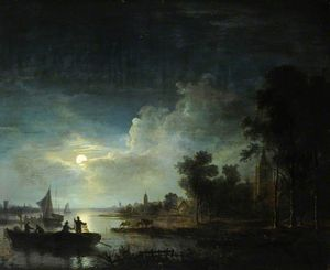Abraham Pether - Moonlight Scene