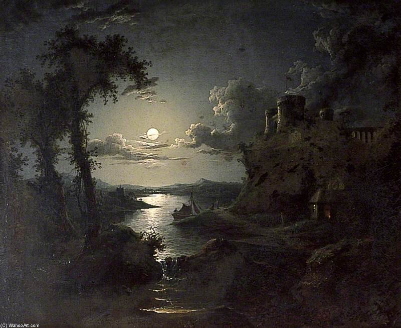 Moonlit Estuary Scene by Abraham Pether (1756-1812, United Kingdom) | Museum Quality Reproductions | WahooArt.com