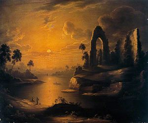 Abraham Pether - Moonlit Landscape With Lake And Ruined Abbey