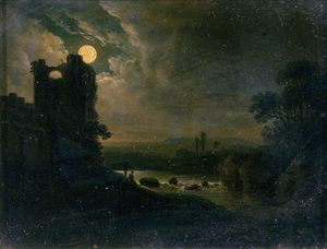 Abraham Pether - Moonlit Landscape With River